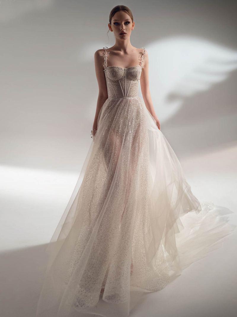 Sparkling A-line wedding dress with spaghetti straps