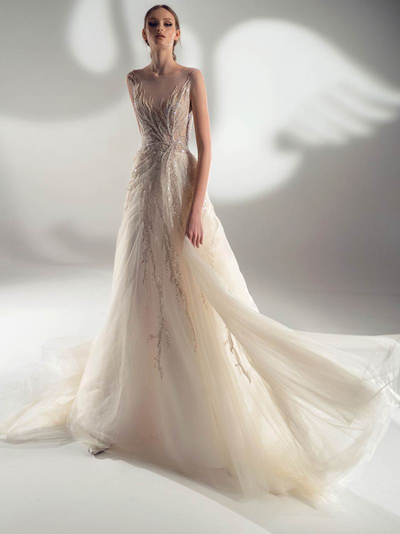 Off the shoulder ball gown wedding dress with beaded embroidery