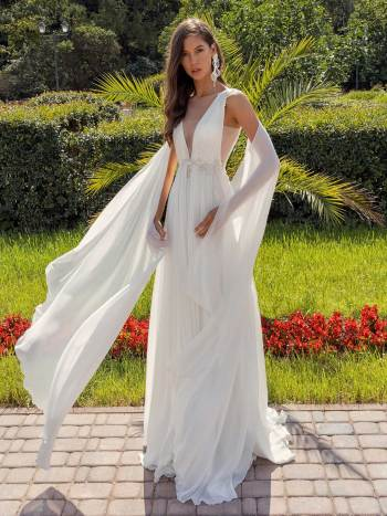 Plunging neckline chiffon wedding dress with detachable cape sleeves and open back