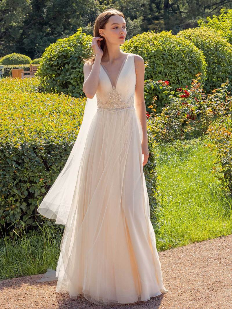 V-neck A-line wedding dress with removable cape sleeves