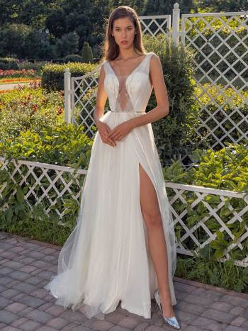 Sleeveless A-line wedding dress with a unique plunging neckline