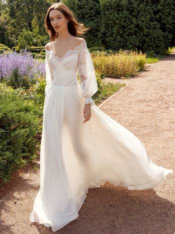 Off the shoulder sheath wedding dress with lace bishop style sleeves