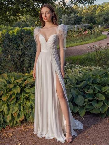Long-sleeve sheath wedding dress with extended shoulders