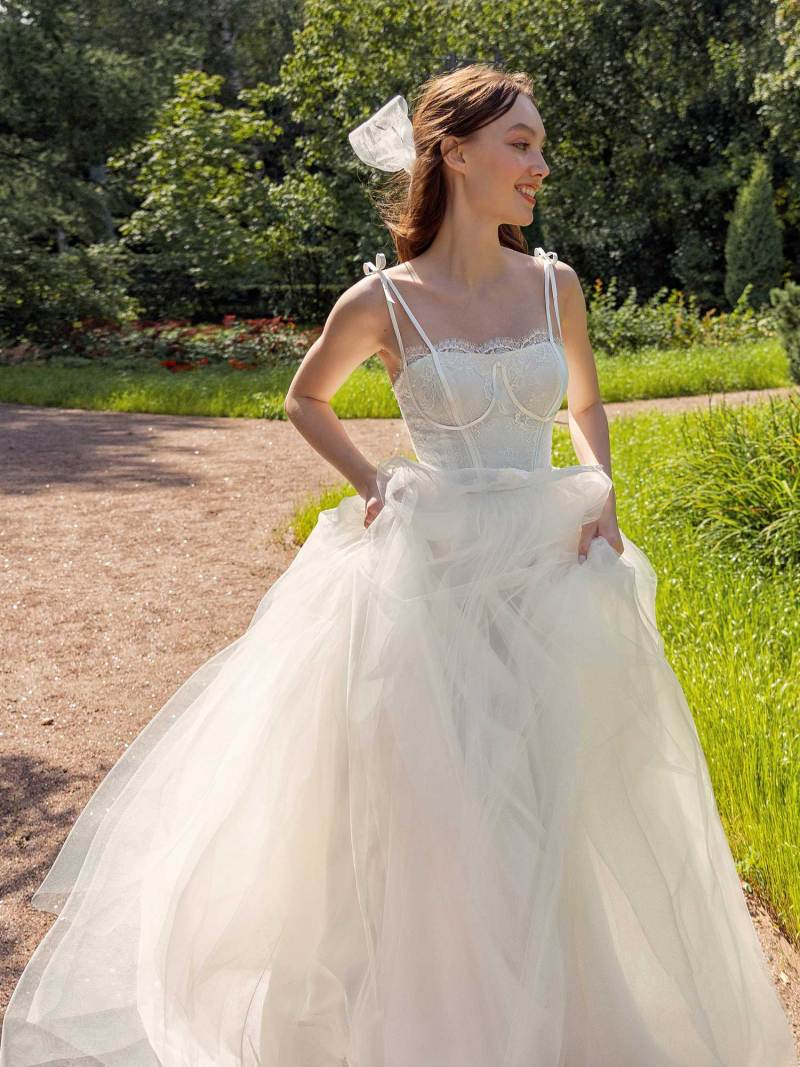 Spaghetti double strap A-line wedding dress with lace top
