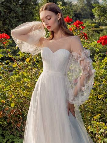 Tulle A-line wedding dress with floral sleeves