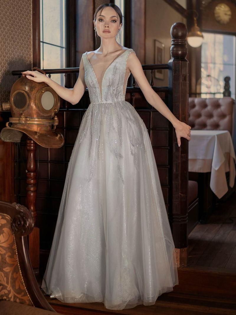 Sparkling A-line evening dress with V-neckline and V-back
