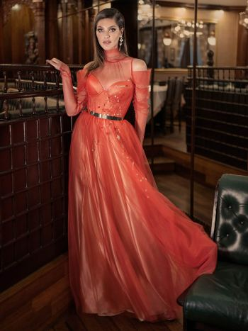 Long-sleeve A-line evening gown with high neck