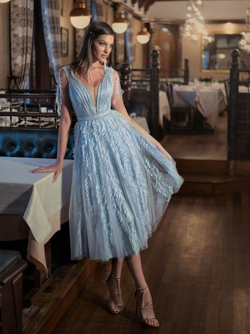 A-line evening dress with floral details