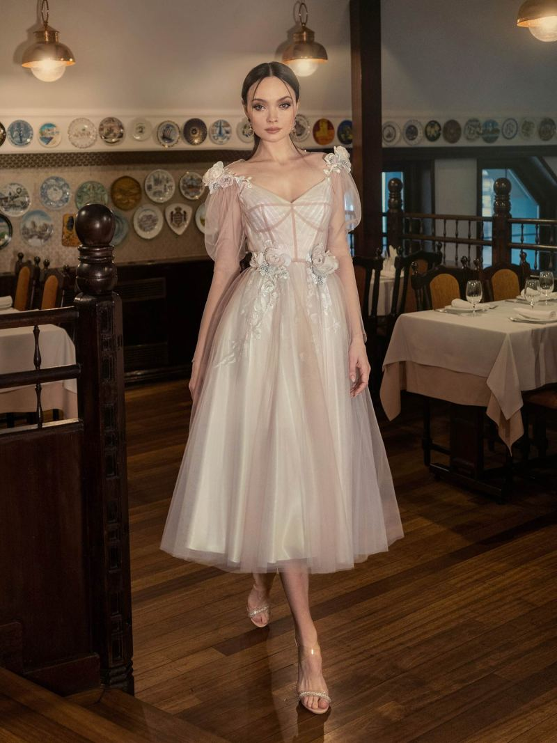 Puffed sleeve A-line gown with 3D flowers