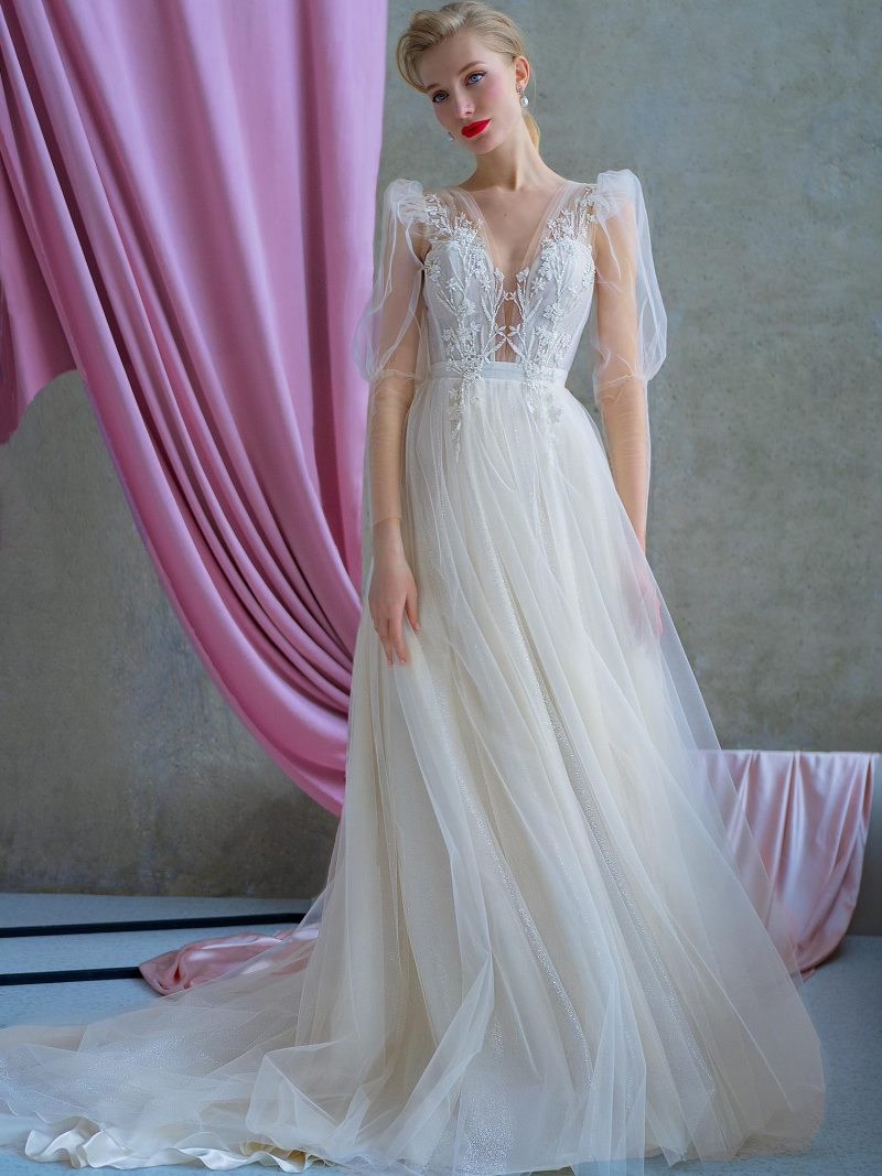 A-line wedding gown with puff sleeves