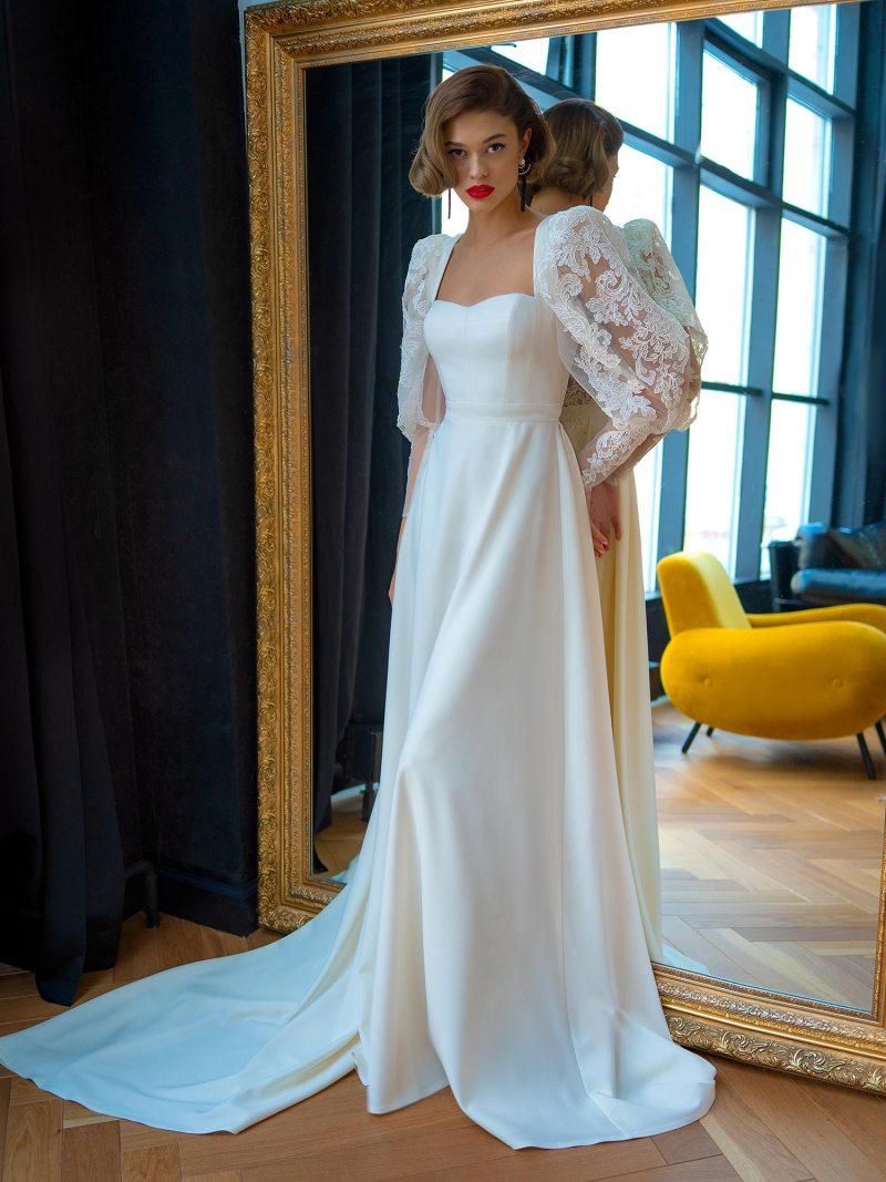 A-line wedding dress with bishop sleeves