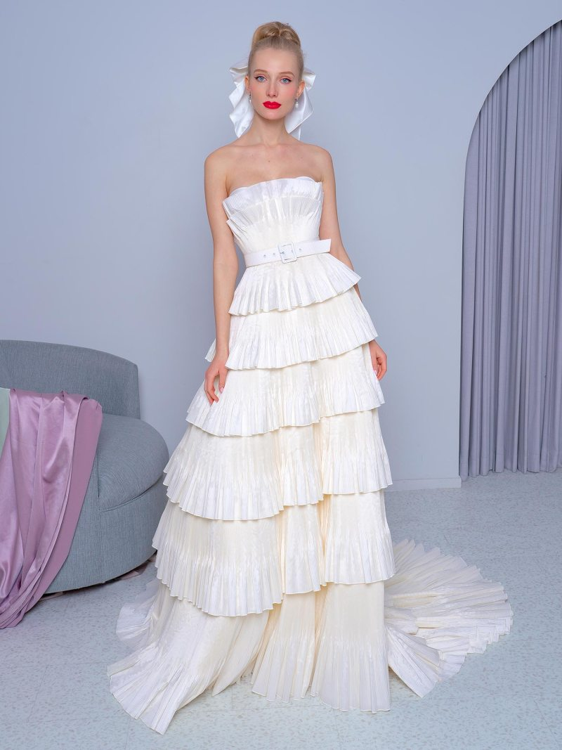 Taffeta tiered A-line wedding dress