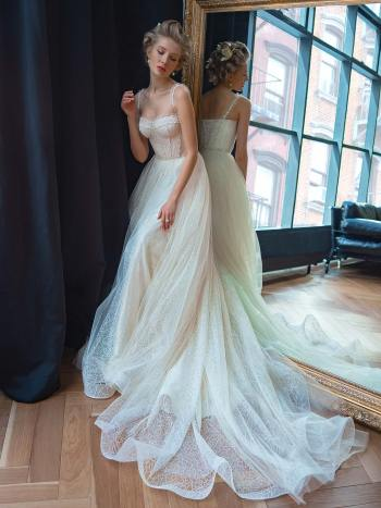 A-line wedding dress with beaded bustier top