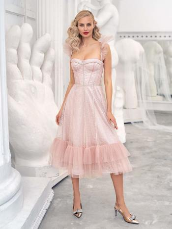 Sequinned lace A-line gown with ruffle skirt