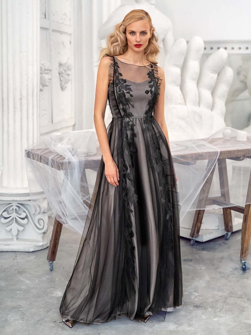 A-line evening dress with cascading ruffle trim