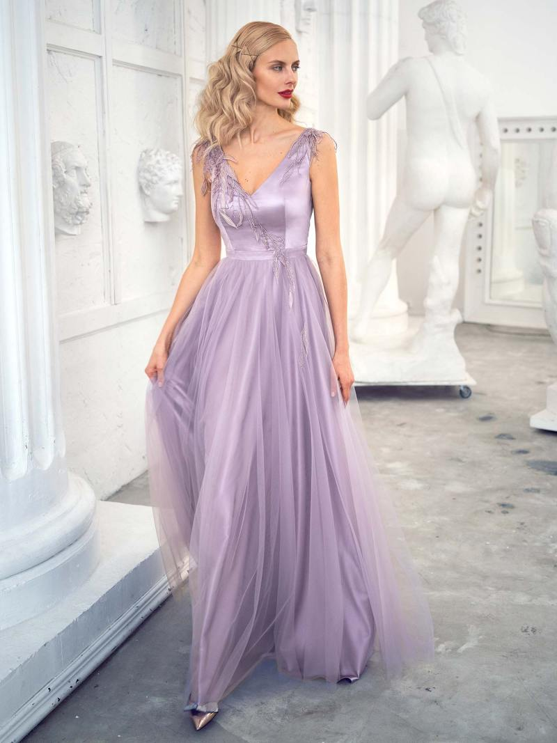 Tulle A-line evening gown with V-neckline