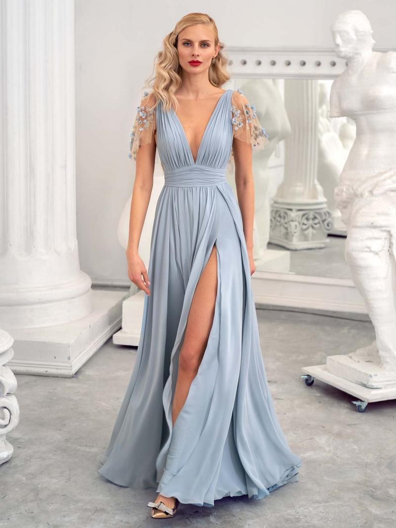 Evening gown with V-neck and flutter sleeves