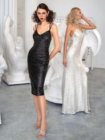 Sheath sequin dress with open back