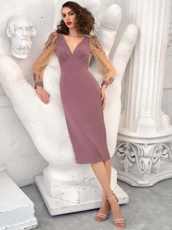 Crepe cocktail dress with balloon sleeves