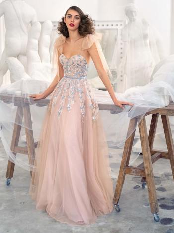 Bustier style A-line gown with floral embroidery and bow straps