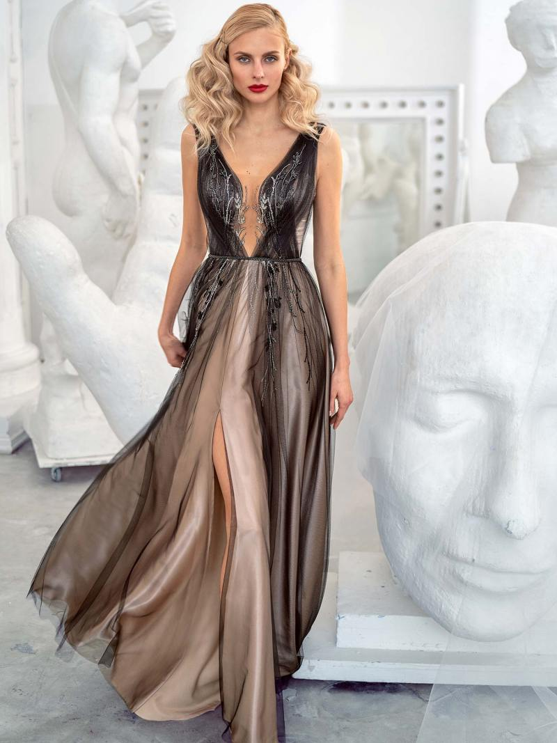 A-line evening gown with an open back