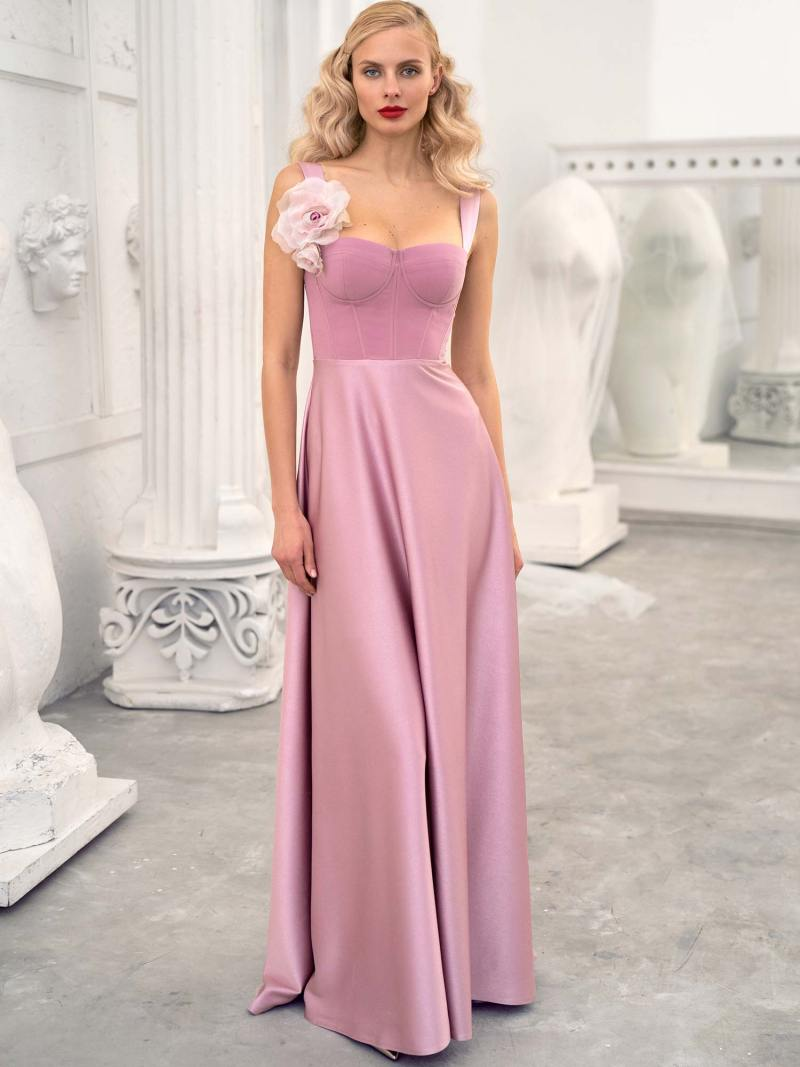 Thick strap sheath gown with bustier style corset