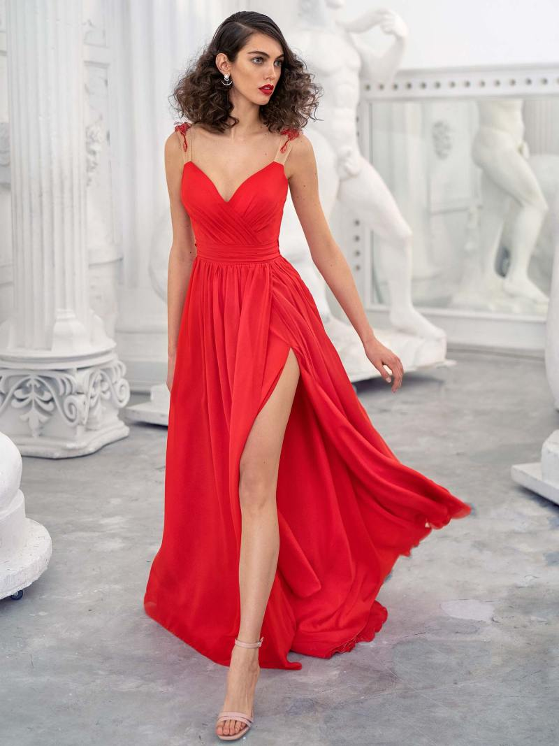 Chiffon sheath gown with floral straps and V-back