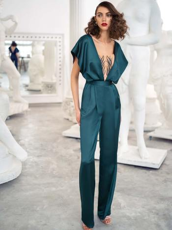 Satin jumpsuit with butterfly sleeves