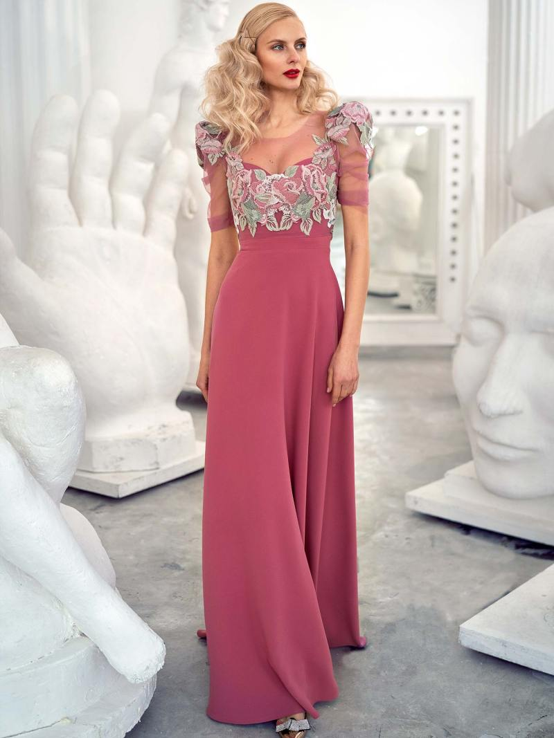 Sheath evening gown with extended shoulders