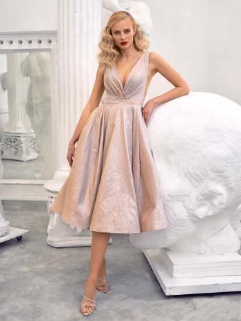 Taffeta A-line gown with deep V-neckline