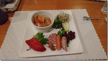 北軽井沢のペットと泊まれる宿花闊歩の夕食オードブル盛り合わせ