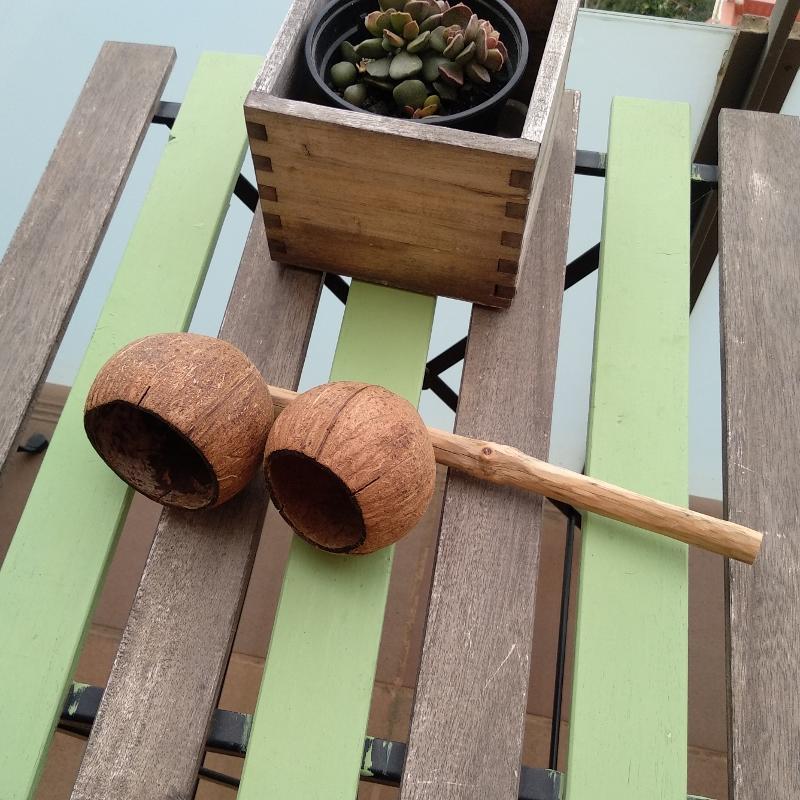 Homemade Coconut Agogô Musical Instrument for Capoeira