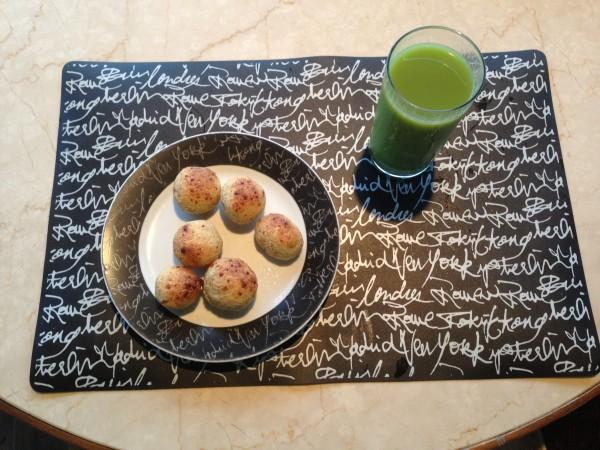 No café da manhã acompanhado do suco verde