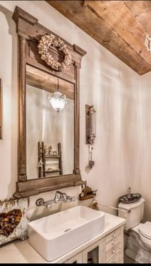 Awesome Rustic Country Bathroom Mirror Ideas 10