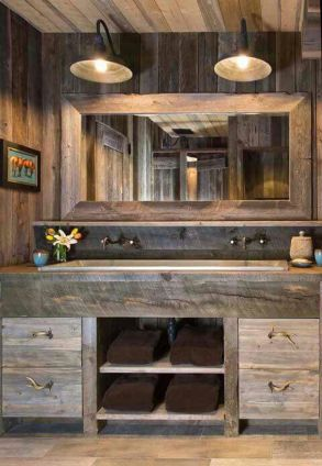 Awesome Rustic Country Bathroom Mirror Ideas 6