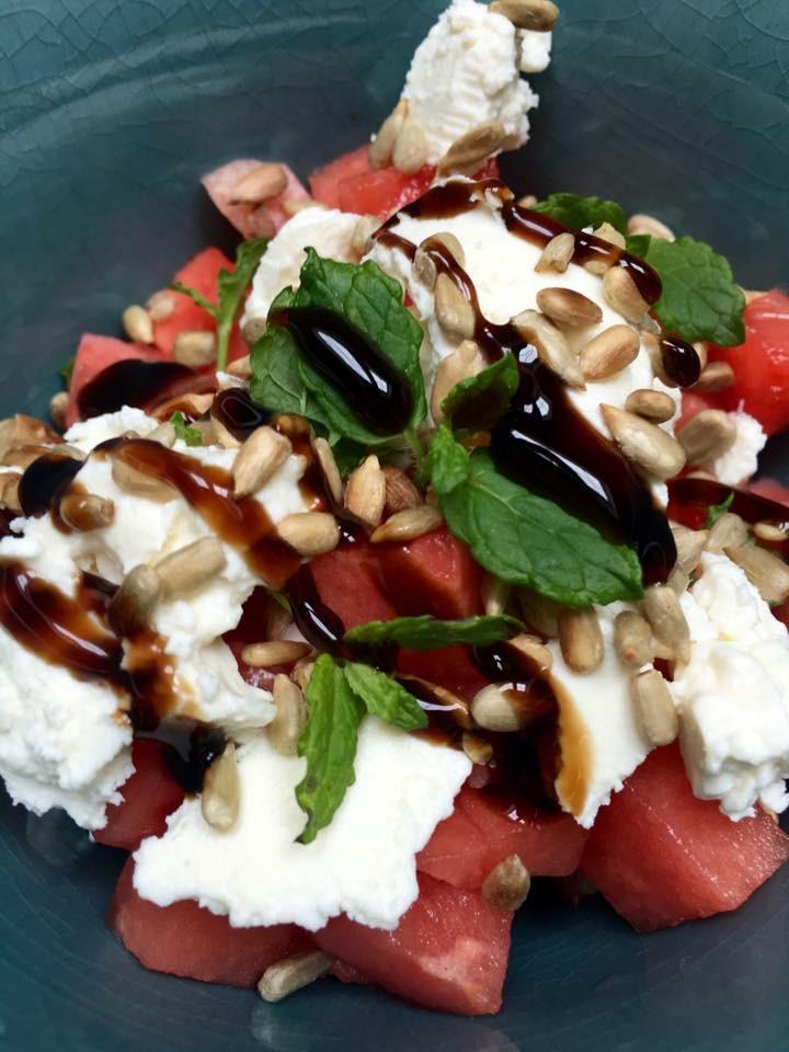 Salat med vannmelon og feta