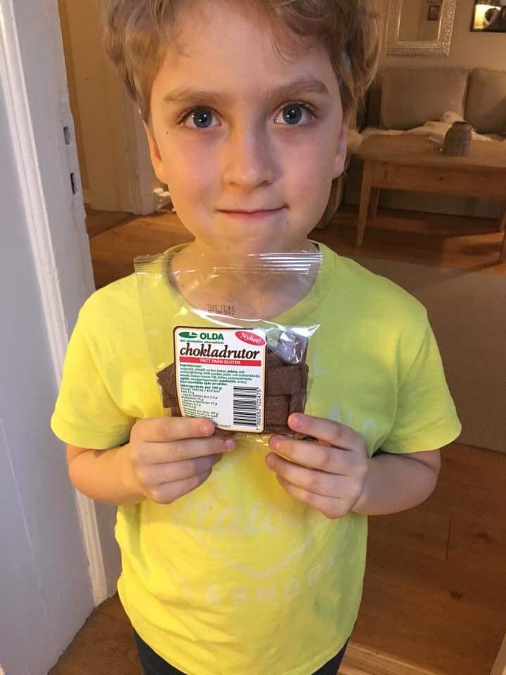 En veldig fornøyd gutt etter dagens utpakking