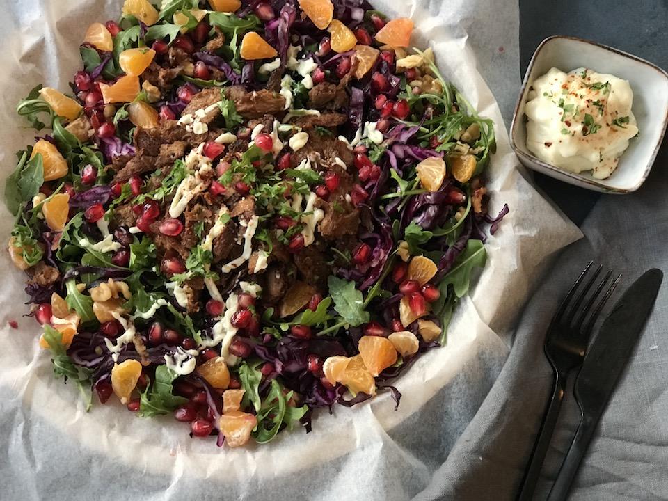 Du kan også servere det som en salat med pitabrød ved siden av