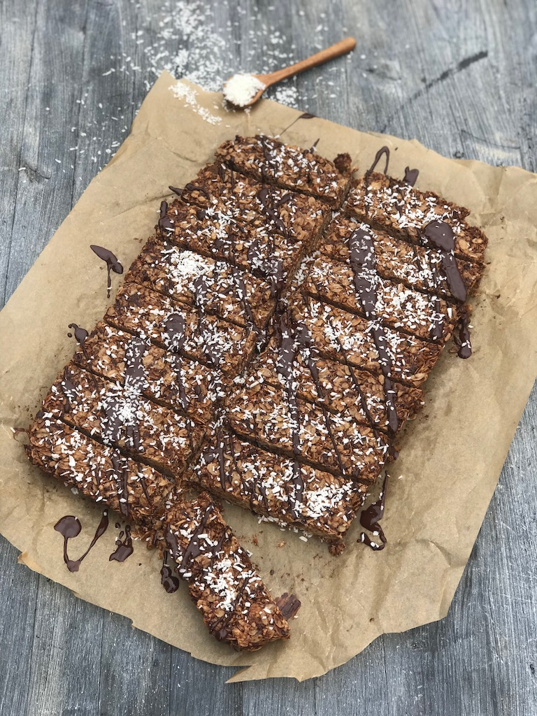 Glutenfri muslibar med mørk sjokolade