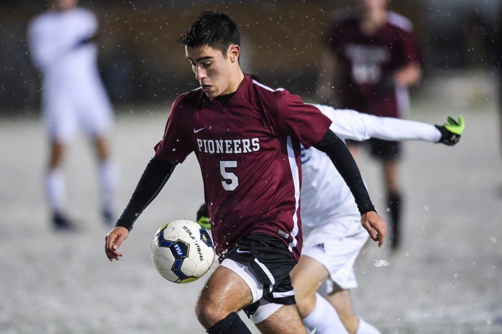 Nino Mauro (5) of Conestoga tries to gain control of the ball against Elizabethtown in the PIAA Class 4A boys soccer championship at Hersheypark Stadium in Hershey, PA on November 19, 2016. Mark Palczewski | Special to PA Prep Live.