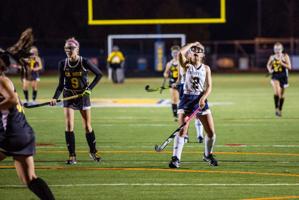 Unionville's Claire Donovan reacts after a first-half shot went awry. (NATE HECKENBERGER - FOR DIGITAL FIRST MEDIA)