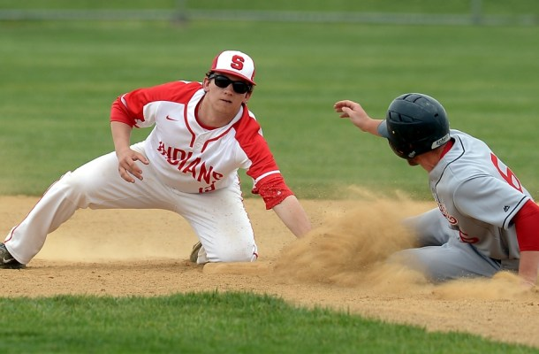 Upper Dublin's Noah Ruiz safely steals second as Souderton's Brandon Glass loses the ball. (Bob Raines/Digital First Media)