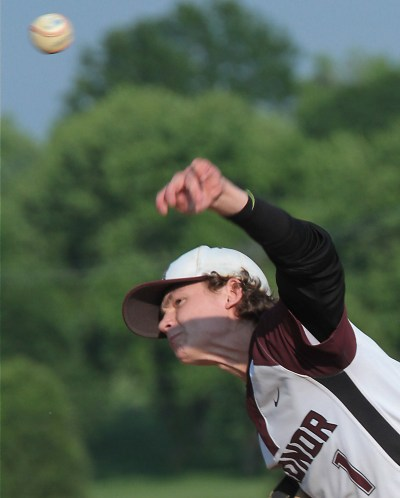 Radnor pitcher Andrew Austen pitches one in during District 1 AAA championship game wtih Upper Moreland.