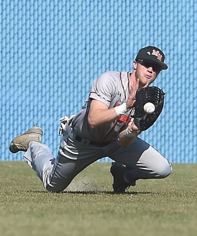 Marple Newtown left fielder Luke Cantwell makes a diving catch to end the third inning against Council Rock North. Pitching and defense were key for the Tigers, who won Thursday's PIAA Class AAAA quarterfinal, 3-1. (Digital First Media/Pete Bannan)