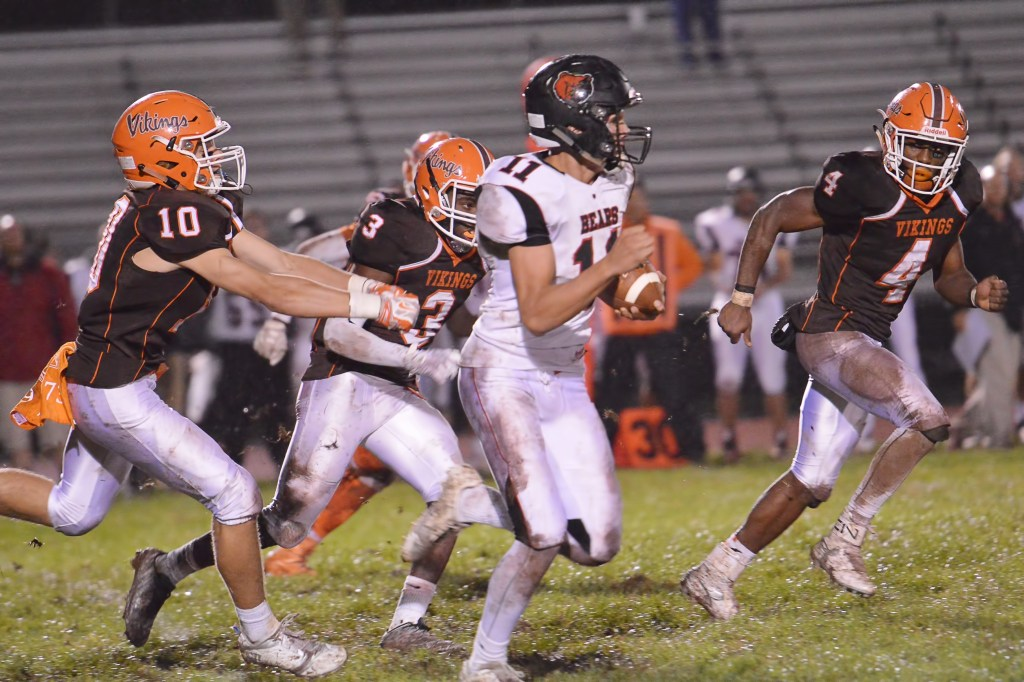 Perkiomen Valley's Stephen Sturm breaks through the line en route to a touchdown run during the second quarter. (Sam Stewart - Digital First Media)