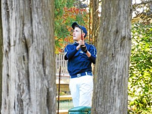 Spring-Ford's Ben Pochet watches his tee shot from No. 3 Monday at Gilbertsville Golf Club. (Thomas Nash - Digital First Media)