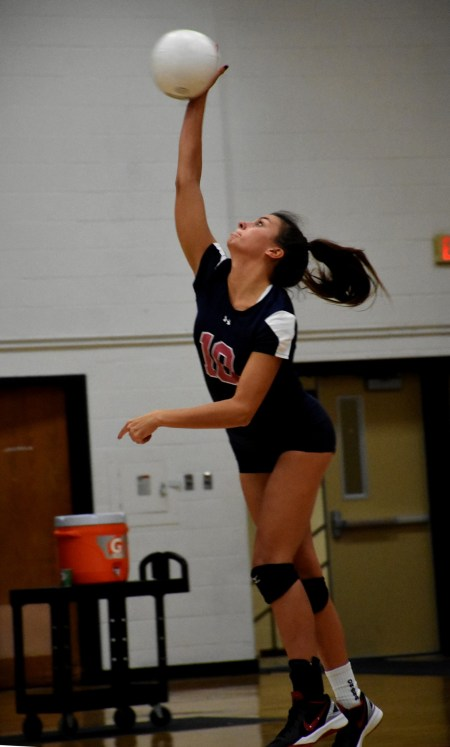 Charlee Borcky shows her serving form in helping lead Cardinal O'Hara past Bonner & Prendie. Before the game, Borcky was honored for setting the school aces record. (Digital First Media/Anne Neborak)