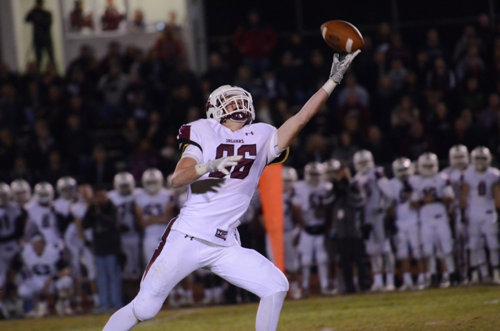 Garnet Valley's Michael Molique tips a pass back to himself before hauling it in for a 30-yard gain. (Sam Stewart - Digital First Media)