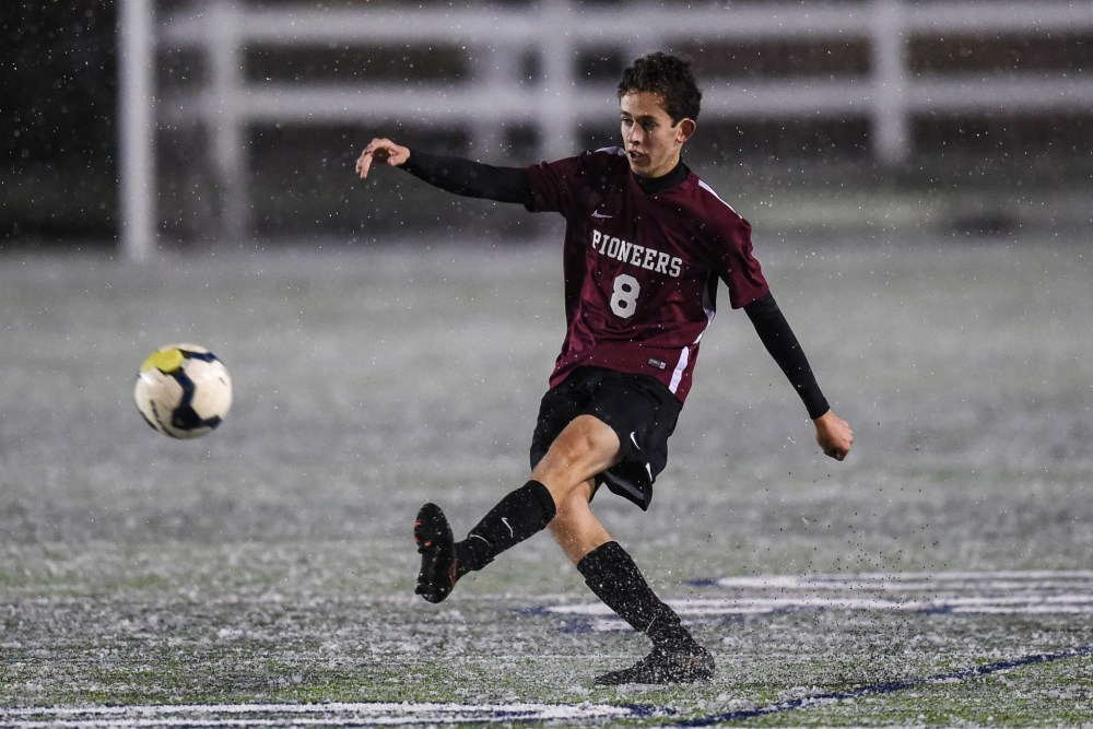 Tommy Auslander (8) of Conestoga shoots on goal against Elizabethtown in the PIAA Class 4A boys soccer championship at Hersheypark Stadium in Hershey, PA on November 19, 2016. Mark Palczewski | Special to PA Prep Live.