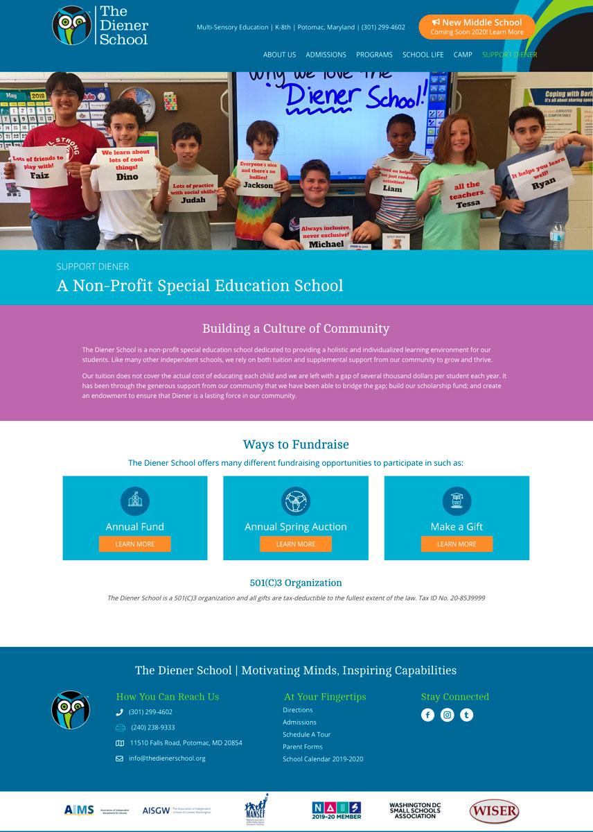 The Diener School Give WordPress Website